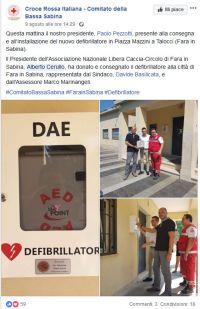 Associazione Libera Caccia dona defibrillatore alla città di Fara in Sabina