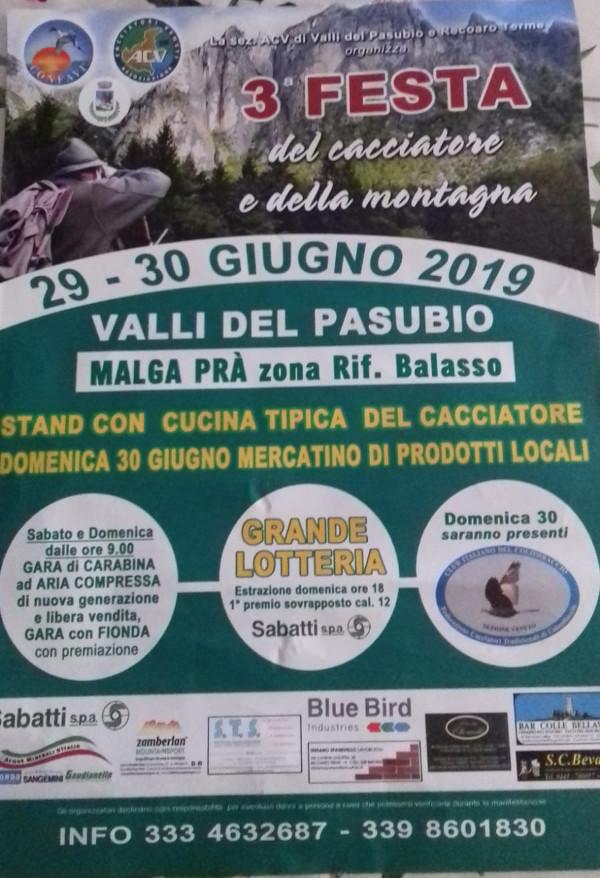 3 Festa del Cacciatore e della Montagna a Valli del Pasubio Manifesto