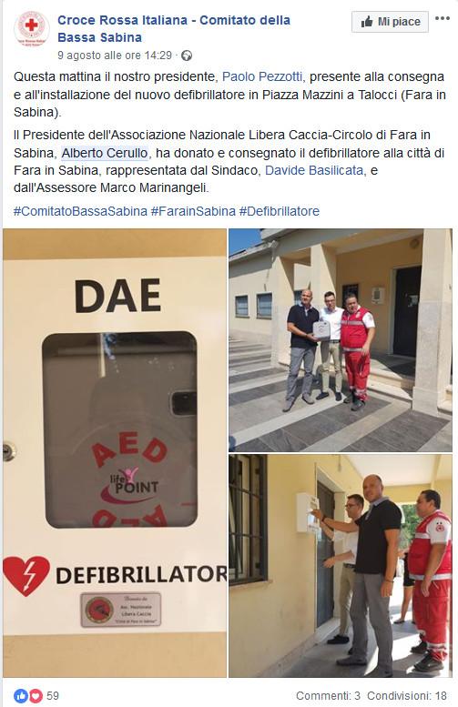 ANLC Fara Sabina Donazione Defribrillatore