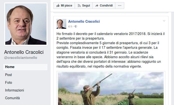 Antonello Cracolici Calendario Venatorio
