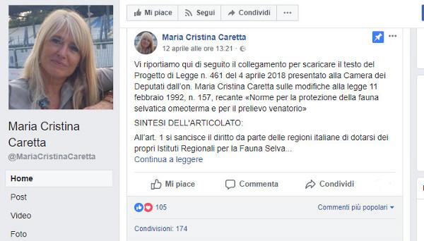 Maria Cristina Caretta Legge Caccia